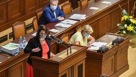 Ministryně práce a sociálních věcí Jana Maláčová na schůzi Poslanecké sněmovny (15. 9. 2020)