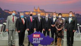 Supedebata Blesku (30. 9. 2020): Zleva Vít Rakušan (STAN), Vojtěch Filip (KSČM), Petr Fiala (ODS), Andrej Babiš (ANO), Ivan Bartoš (Piráti), Marian Jurečka (KDU-ČSL), Markéta Pekarová Adamová (TOP 09), Jan Hamáček (ČSSD)