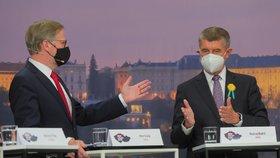 Superdebata Blesku (30. 9. 2020): Zleva Petr Fiala (ODS) a Andrej Babiš (ANO)