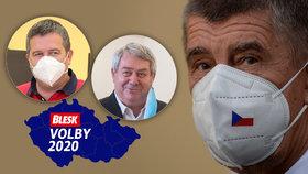 Volby 2020: Zleva Jan Hamáček (ČSSD), Vojtěch Filip (KSČM), Andrej Babiš (ANO)