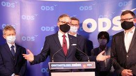Předseda ODS Petr Fiala na tiskové konferenci po sečtení výsledků krajských voleb (3. 10. 2020)