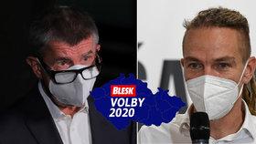 Premiér a šéf ANO Andrej Babiš a předseda Pirátů Ivan Bartoš  okomentovali výsledky voleb (3. 10. 2020)