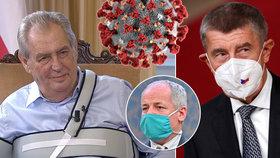 Zleva prezident Miloš Zeman, ministr zdravotnictví Roman Prymula a premiér Andrej Babiš (ANO)