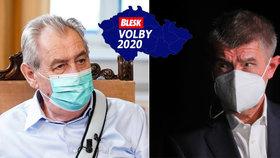 Prezident Miloš Zeman a premiér Andrej Babiš (ANO) okomentovali povolební výsledek (4. 10. 2020)