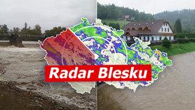 Silně deště zasáhly Česko