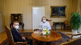 Petr Mlsna na schůzce s Milošem Zemanem v Lánech (15.10.2020)