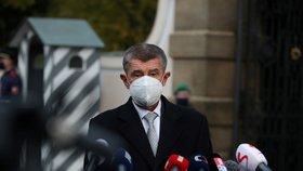 Premiér Andrej Babiš (ANO) po jednání s prezidentem ohledně rezignace ministra zdravotnictví Romana Prymuly (za ANO) (23.10.2020)