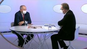 Končící ministr zdravotnictví Roman Prymula (za ANO) v pořadu Otázky Václava Moravce (25. 10. 2020)