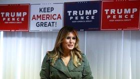 Melania Trumpová v kampani v Pensylvánii podpořila svého manžela Donalda Trumpa (27. 10. 2020).