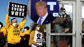 Prezident Trump chce zastavit sčítání hlasů, jeho voliči vyrazili do akce