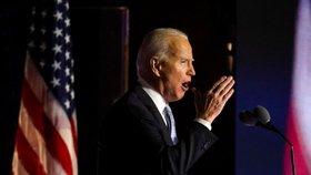 Zvolený prezident Joe Biden při vítězném projevu ve Wilmingtonu