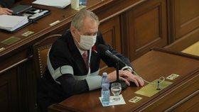 Prezident Miloš Zeman ve Sněmovně při schvalování rozpočtu (11.11.2020)