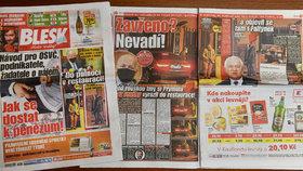Deník Blesk a titulní strana se zprávou o noční schůzce v zavřené restauraci na Vyšehradě, které se účastnili Roman Prymula Jaroslav Faltýnek