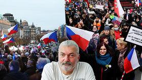 Protest proti vládním opatřením. Vyrazil na něj i Daniel Hůlka (17.11.2020)