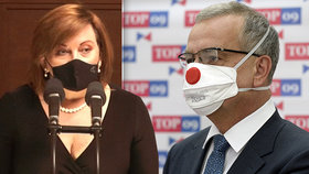Ministryně financí Alena Schillerová (za ANO) hájila daňový balíček, Miroslav Kalousek (TOP 09) vládu kritizoval (19. 11. 2020)
