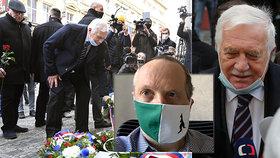 Zatímco Václav Klaus st. na Národní třídě nasadil roušku pod bradu, jeho syn roušky nosí poctivěji a obezřetněji