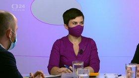 Do pořadu Otázky Václava Moravce dorazila poslankyně Olga Richterová (Piráti; 22. 11. 2020).