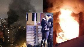 V Kovařovicově ulici v Praze 4 hořel 25. 11. 2020 byt v panelovém domě.