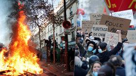 Ulice v plamenech a dav plný hněvu. Francouzi protestovali proti kontroverznímu zákonu