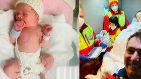 Rodiče Lenka a Vojta porodili svou dcerku přímo na benzínové pumpě