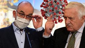 Ministr zdravotnictví Jan Blatný (za ANO, vlevo) a bývalý prezident Václav Klaus