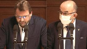 Debata o očkování proti covid-19 ve Sněmovně: Poslanec Lubomír Volný bez roušky, ministr Jan Blatný s rouškou