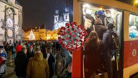 Takto vypadala situace v Praze v noci 3. prosince. Pražané v rámci opatření vyrazili hromadně do ulic, spoje MHD pak byly narvané.