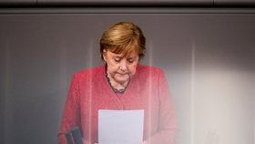 Německá kancléřka Angela Merkelová během projevu o plánovaném rozpočtovém schodku na rok 2021, (9.12.2020).