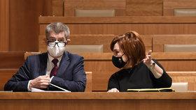 Jednání Senátu o daňovém balíčku: Premiér Andrej Babiš (ANO) a ministryně financí Alena Schillerová (za ANO) (10.12.2020)