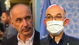 Šéf Asociace krajů ČR Martin Kuba (ODS, vlevo) a ministr zdravotnictví Jan Blatný (za ANO)