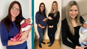 Kamarádky Monika Šlesingerová (30, vlevo) a Markéta Jedličková (29) porodily ve stejný den.