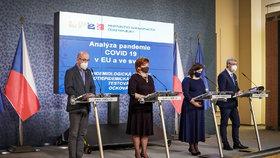 Jednání vlády (11. 1. 2021): Zleva Jan Blatný, Alena Schillerová (oba za ANO), Jana Maláčová (ČSSD) a Karel Havlíček (za ANO)