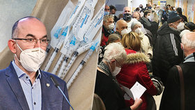 V Nemocnici Na Bulovce v Praze se tlačili senioři při čekání na rezervaci vakcíny proti covidu-19. Ministr Blatný tento způsob kritizoval (13. 1. 2021).