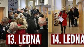 Očkování v Nemocnici Na Bulovce. 14. ledna 2021 se situace oproti předchozím dvěma dnům výrazně zlepšila - lidé nestáli namačkaní v davu na chodbě.