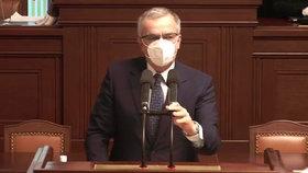 Loučení Miroslava Kalouska (TOP 09) ve Sněmovně: Sklidil potlesk vestoje (19.1.2021)