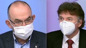 Ministr zdravotnictví Jan Blatný (za ANO) a prezident lékařské komory Milan Kubek v pořadu Otázky Václava Moravce na ČT