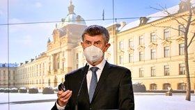 Premiér Andrej Babiš (ANO) vystoupil 27. ledna 2021 v Praze na tiskové konferenci po mimořádném jednání vlády.