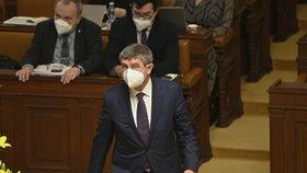 Sněmovna o žádosti vlády o prodloužení stavu nouze: Premiér Babiš (11.2.2021)