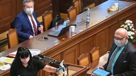 Asistentka dezinfikuje mikrofon po vystoupení poslance Lubomíra Volného, který neměl v Praze na schůzi Sněmovny ochrannou roušku proti koronaviru (18. 2. 2021)