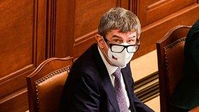 Premiér AndrePremiér Andrej Babiš (ANO) v Poslanecké sněmovně během projednávání prodloužení nouzového stavu (26.2.2021)