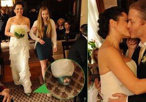 Bára Kodetová se na svatební den vyzbrojila zelenými střevíci, Šporcl líbal nevěstu bez svého šátku.
