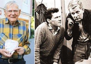 »Prostřední ze Tří chlapů v chalupě« Jan Skopeček slavil 90. narozeniny. Blesk byl mezi prvními gratulanty.