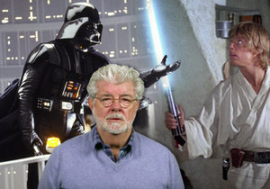 Režisér George Lucas (uprostřed) a za ním otec se synem – Darth Vader a Luke Skywalker