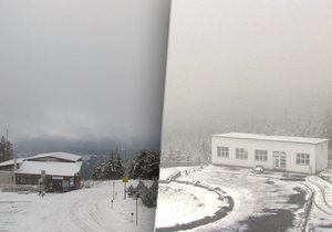 Na horách sněžilo. Do Česka přichází zima.
