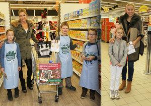 Potravinové sbírky v Tescu se zúčastnily i slavné tváře, Monika Babišová a Tereza Mátlová.