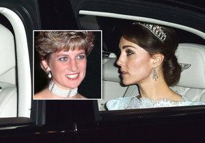 Vévodkyně Kate si vzala korunku, která patřila Lady Dianě.