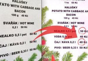 """""""Tisková chyba"""" zmizela. A ceny nápojů ve stánku na vánočních trzích po naší reportáži klesly."""