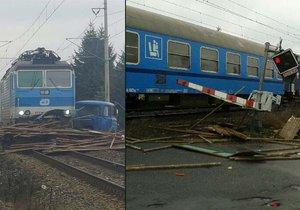 Další náklaďák na přejezdu: Na Nymbursku vletěl osobní vlak do Avie plné železa.