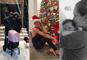 Kobzanová měla Vánoce na sněhu, Belohorcová u stromečku v pyžamu a Absolonová doma s Tadeášem.