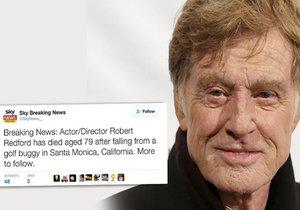 Obětí krutého žertu se o silvestrovské noci stal Robert Redford. Na Twitteru se totiž objevila zpráva, že se stal obětí nehody na golfu v kalifornské Santa Monice a zemřel.